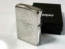 "Rare! ZIPPO 2013 ""World Map"" 5-Sided Design Titanium-Coated Lighter Silver"