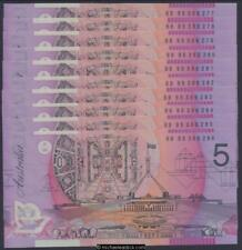 Australia $5 Fraser Evans Wide Bands Consecutive Run of 10 Unc MC303a-R217a