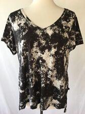 ROCK & REPUBLIC Women's Black Shirt Spattered Short Sleeve Top Sz XL T Shirt