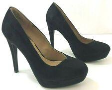 Lauren Conrad Johanna Heels Womens 7M Solid Black Faux Suede 112613