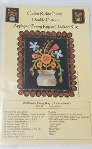 CABIN RIDGE FARM Double Pattern WILDFLOWERS Penny Rug Applique/Hooked Rug-new