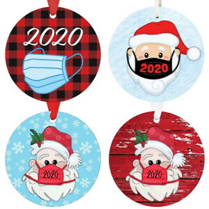 Round Wooden Christmas Ornament- Wooden People with Face Mask Hanging Decoration