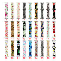 Silicone Strap For Apple Watch iWatch Series 5 4 3 2 Rose Flower Leopard Band