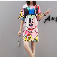Mickey Mouse Women Dress Plus Size Cotton Short Sleeve Summer T-Shirt Casual