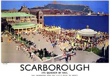 Scarborough-el Spa-Ferrocarril-Tren viaje vacaciones A3 Art Poster Print