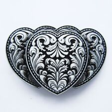 Brand New Triple Hearts Cowgirl Western 3-D Belt Buckle