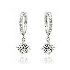 Austrian Crystal Silver with White Zircons Rhinestone Hoops Earrings E353