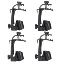 4pcs Clamp Clip On Drum Rim Microphone Mic Mount Holder Black Adjustable P1Y2