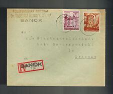 1941 Sanok to Rzeszow Poland Germany GG cover Lawyer to Prosecutor Special Court