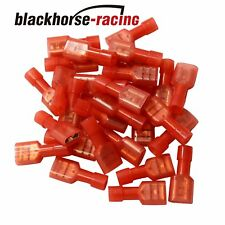 """100Pc Fully Insulated Red Female Electrical Spade Crimp Connector Terminals 1/4"""""""
