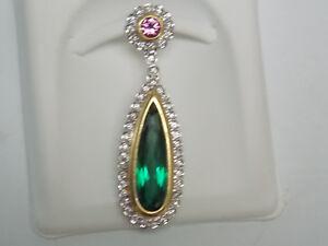 Green Tourmaline with Diamond Fashion Dangling Pendant on 18K Two Tone Gold