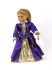 """Doll Clothes Ag 18"""" Dress Royal English Queen Purple Fits American Girl Dolls"""
