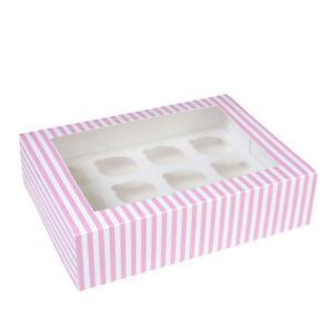 Cupcakebox pink/weiß, mit Sichtfenster und für 12 Cupcakes