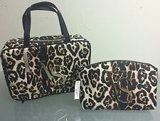 Victoria Secret Leopard Travel Makeup Hanger Organizer Case & Clutch NWT