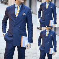 Navy Blue Double Breasted Formal Men Suit Slim Fit Skinny Groom Tuxedos 2 Piece