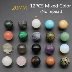 12pcs Assorted Crystal Healing Gemstone Spheres 18-20mm Healing Reiki Decor Ball