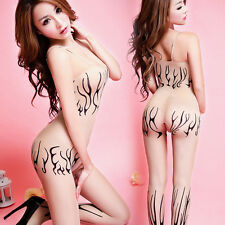 Sexy Body Stockings Flame Antlers False Tattoos Bodysuit Lingerie Beige 06119
