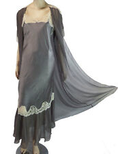 Silk Victorias Secret Long Nightgown SP & Peignoir OS Lace Romantic Night Silver