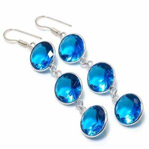 """Swiss Blue Topaz Gemstone Handmade 925 Sterling Silver Jewelry Earring 2.92 """""""