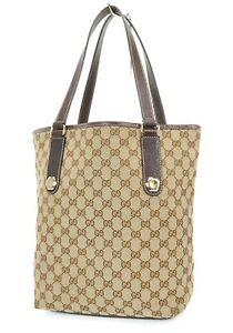 Authentic GUCCI Brown GG Canvas and Leather Shoulder Tote Bag #37178