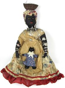 Antique Brazilian Bahia Folk Art Cloth Doll & Baby