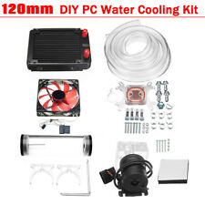 PC Liquid Water Cooling Radiator Kit CPU Block LED Fan Pump Reservoir Tube 120mm