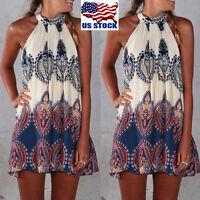 Womens BOHO Loose Sleeveless Floral Party Summer Beach Sundress Short Dress USA
