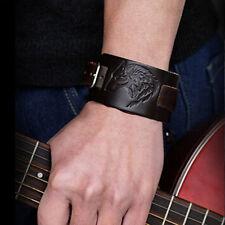 Bijoux Bracelet Homme,Femme,Cuir Marron,Noir,Loup Alpha,Qualité,Rock,Punk,Biker
