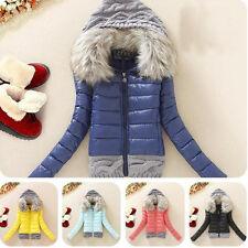 Le donne inverno caldo cappotto giù Cotone Corta Slim collo in pelliccia con cappuccio Cappotto Giacca Parka