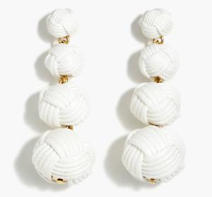 J Crew Love Knot Drop White Waxed Dangle Post Earrings w/ Dust Bag MSRP $58 NWT