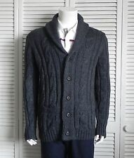 NEW Mens SIZE 2XL ALPACA Dark Gray Cable Knit Shawl Collar Cardigan Sweater PERU