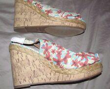 Retro NEW Floral open toe platform wedge slingback MADDEN GIRL STEVE MADDEN 11 M
