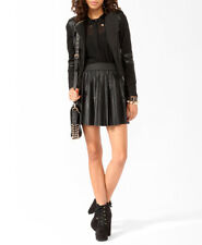 Forever 21 Vegan Faux Leather Black Knife Pleated Skirt - Size L