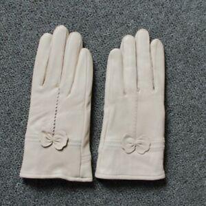 Women's Genuine Leather Gloves Sheepskin Winter Fashionable Windproof Mitten New