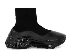 MIU By Prada Ladies Ankle Boots Hi-Top Sneakers Trainers Sock Black Eu 39 New