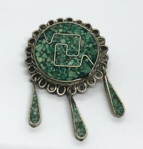 Vintage Fashion Costume Brooch Pin Alpaca Mexico Crushed Green Stone Pendant