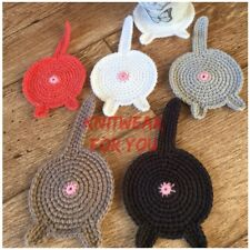 1 Handmade crochet Cat Butt Coaster white Black Novelty funny gift for cat lover