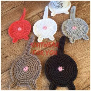 1 Handmade crochet Cat Butt Coaster white Black Novelty funny gift for cat lover