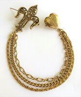Vintage Chatelaine Heart Locket & Fleur de Lis Brooches W Triple Chain Beautiful