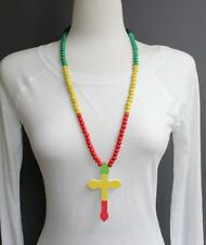Green Red Yellow Black wood cross long necklace big pendant wooden bead beaded