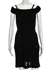 CHANEL Black Boat Neck Cap Sleeve Pointelle Knit Stretch Dress Sz IT 36 08P