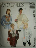 Tops Blouse Sewing Pattern McCalls 6252 Size S 10 12  Bib Front UC FF Loose Fit