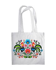 Shopping Bag Eco Friendly Folk Hen Print Shopper Tote Beach Shoulder Handbag