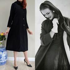 Vintage Noir Pure Laine Riche Cape Tailored longues Capuche manteau Taille UK 14 US 10 EU 40