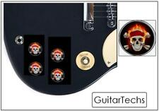 GuitarTechs Black Speed Knob w/ FLAMING SKULL Electric Guitar Les Paul SG...