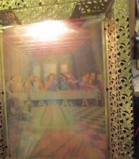 Vintage 3D Jesus & Last Super Picture Gold Tone lighted Metal Frame With A Light