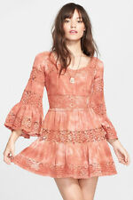 6047 New $298 Free People Pippa Crochet Fit and Flare Gauze Tunic Dress XS