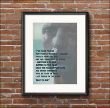 Home decor, quotation, RUTGER HAUER, Blade Runner, art print poster, A4, A3