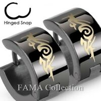 FAMA Swirl Fake Plug with O-Ring End Gold IP Over Stainless Steel Stud Earrings