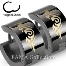Top Quality FAMA Stainless Steel Black Hoop Earrings with Tribal Design